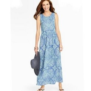 Talbots Blue Paisley Floral Sleeveless  Maxi Dress